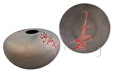 Tony Evans Raku Pottery Centerbowl and Plate