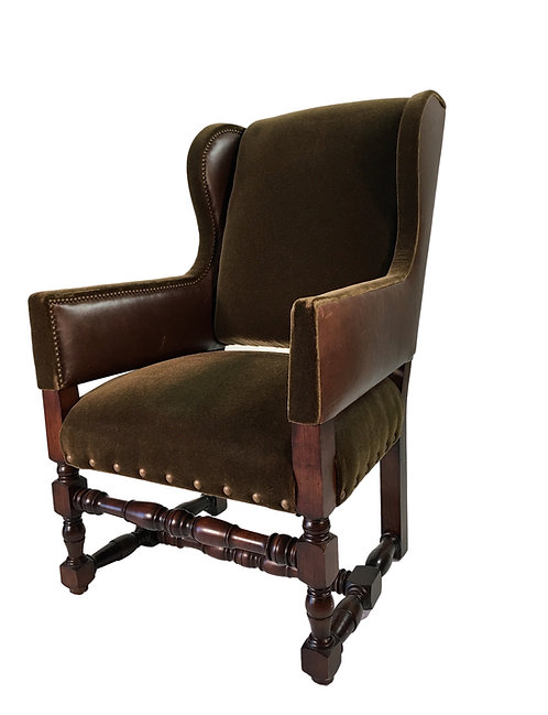 Mohair and Leather Wing Chair