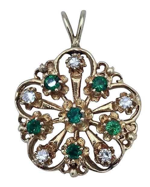 Estate 14K Gold Emerald and Diamond Pendant