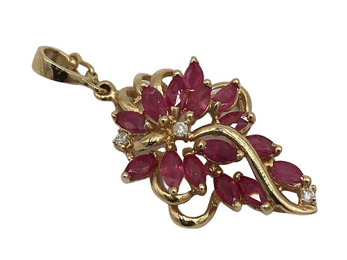 Estate 14K Gold Ruby and Diamond Pendant
