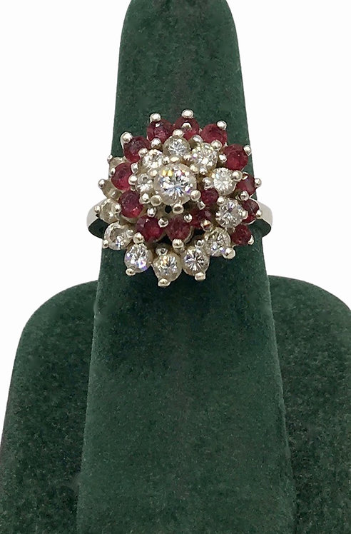 14K Gold Estate Ruby and Diamond Ring