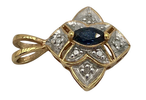 Estate 10K Gold Sapphire and Diamond Pendant