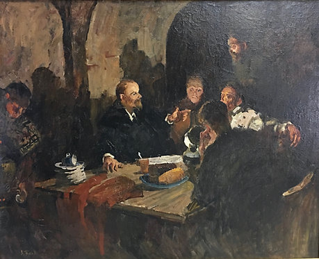 Lenin conspiring in the night, K. Burov (Russian 20th c,) oil on canvas
