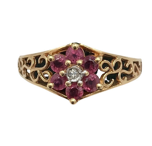 Estate 14K Gold Ruby and Diamond Ring