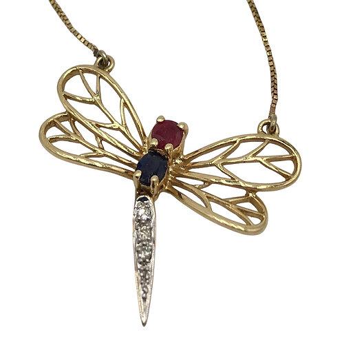 14K Ruby, Sapphire, Diamond Dragonfly Pendant
