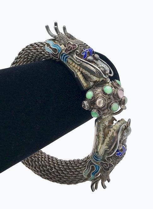 Vintage Chinese Silver Enameled Dragon Bracelet