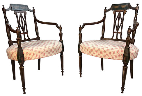 Pair American Sheraton Painted Armchairs, c. 1810