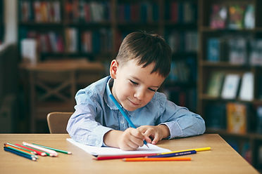 Cute  boy doing homework,  coloring page