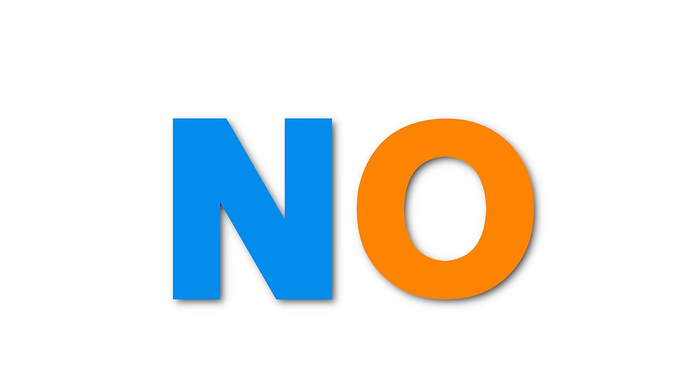 a blue letter n and an orange letter o, spelling the word no