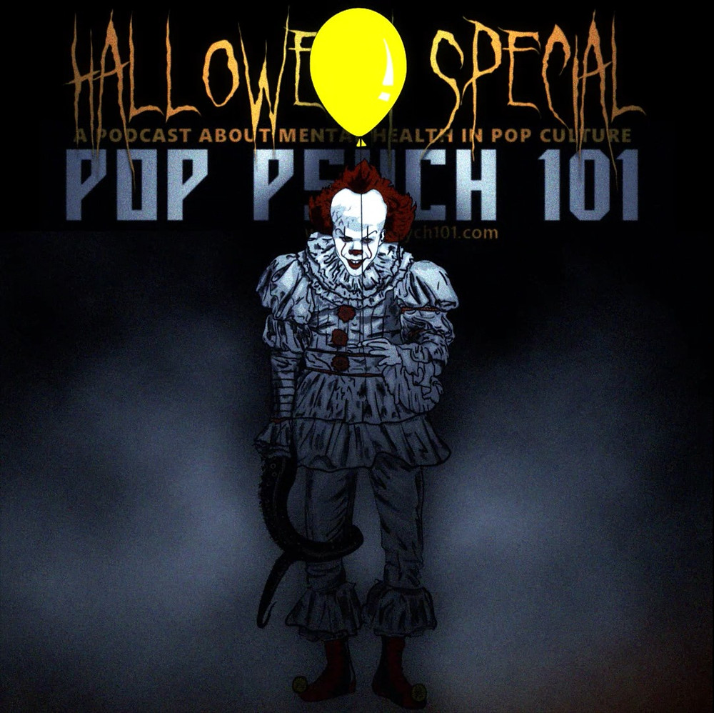 Cover Art for the mental health podcast, pop psych 101, featuring a clown and a yellow baloon