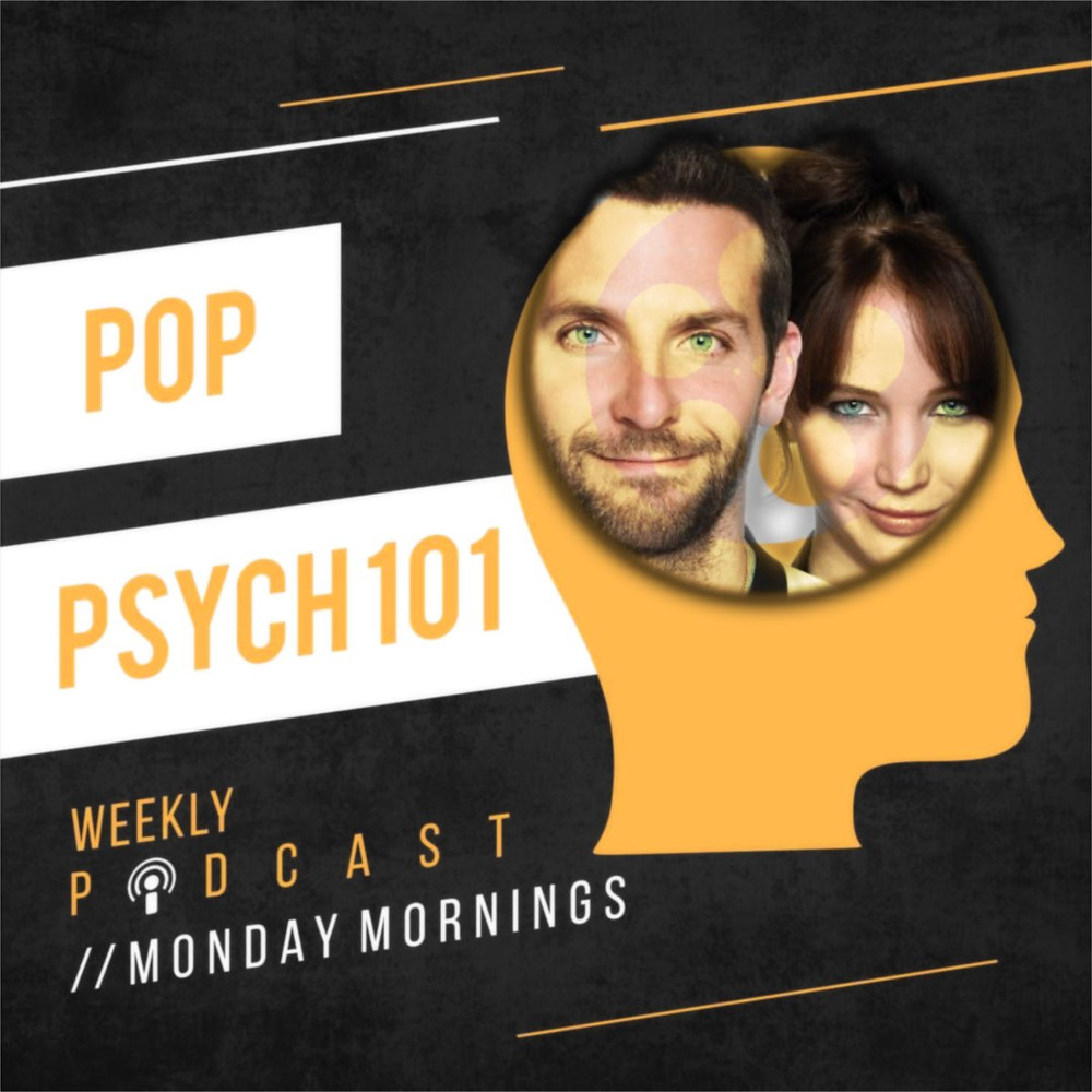 Cover Art for pop psych 101 podcast with Bradley Cooper and Jennifer Lawrence on the cover