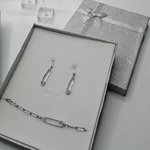 Bracciale + Orecchini In Acciaio Con Spilla Cristallata