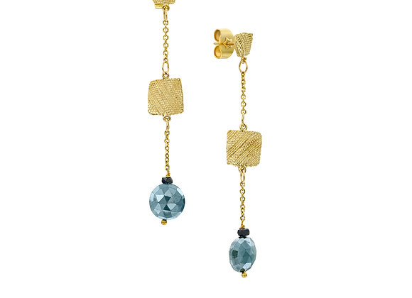 Meirav Fabric Squares Kyanite Gold Earrings