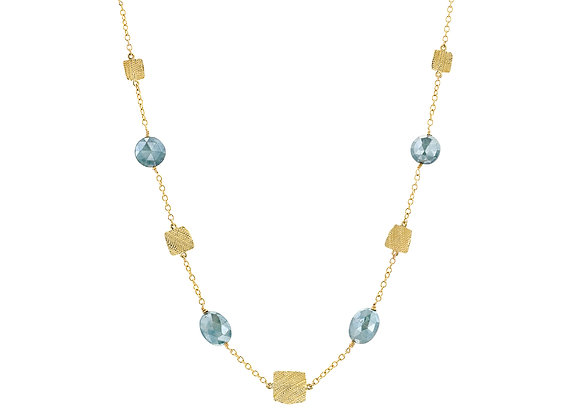 Meirav Fabric Gold Squares Necklace