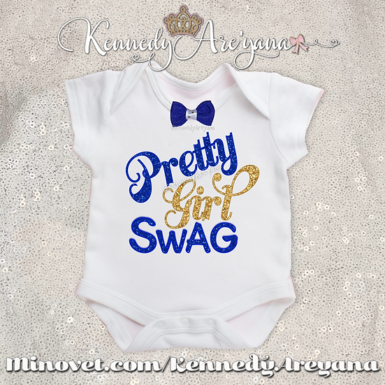 Pretty Girl Swag T-Shirt (Blue/Gold)