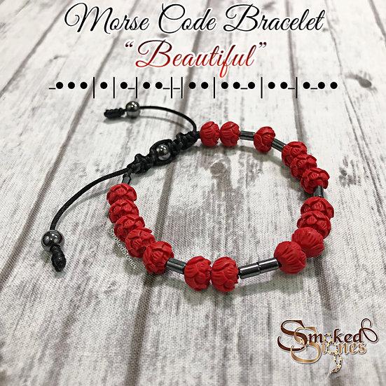 "Morse Code Bracelet ""Beautiful"" Lotus and Hematite"