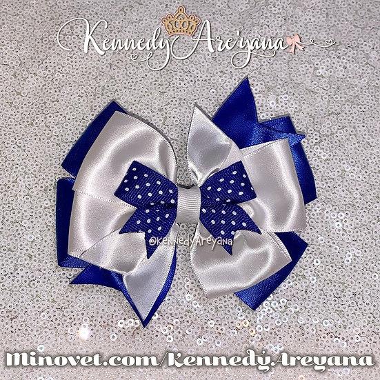 Blue/White Hair Bow
