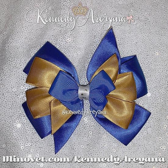 Blue/Gold Hair Bow