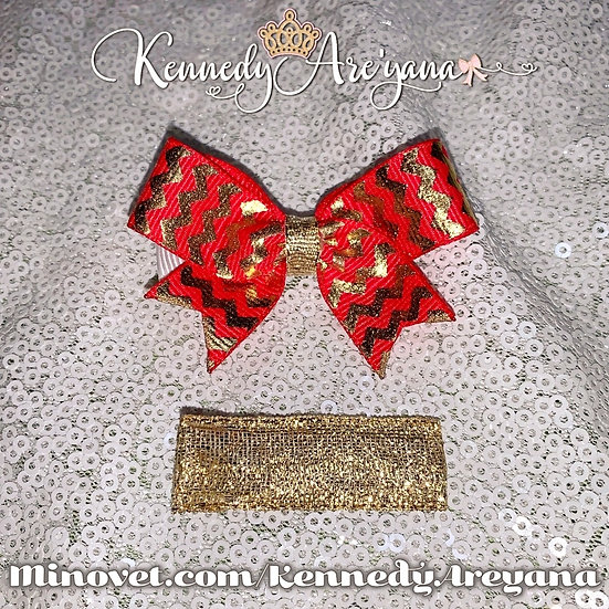 Mini Bow and Clip Set (Red/Gold)