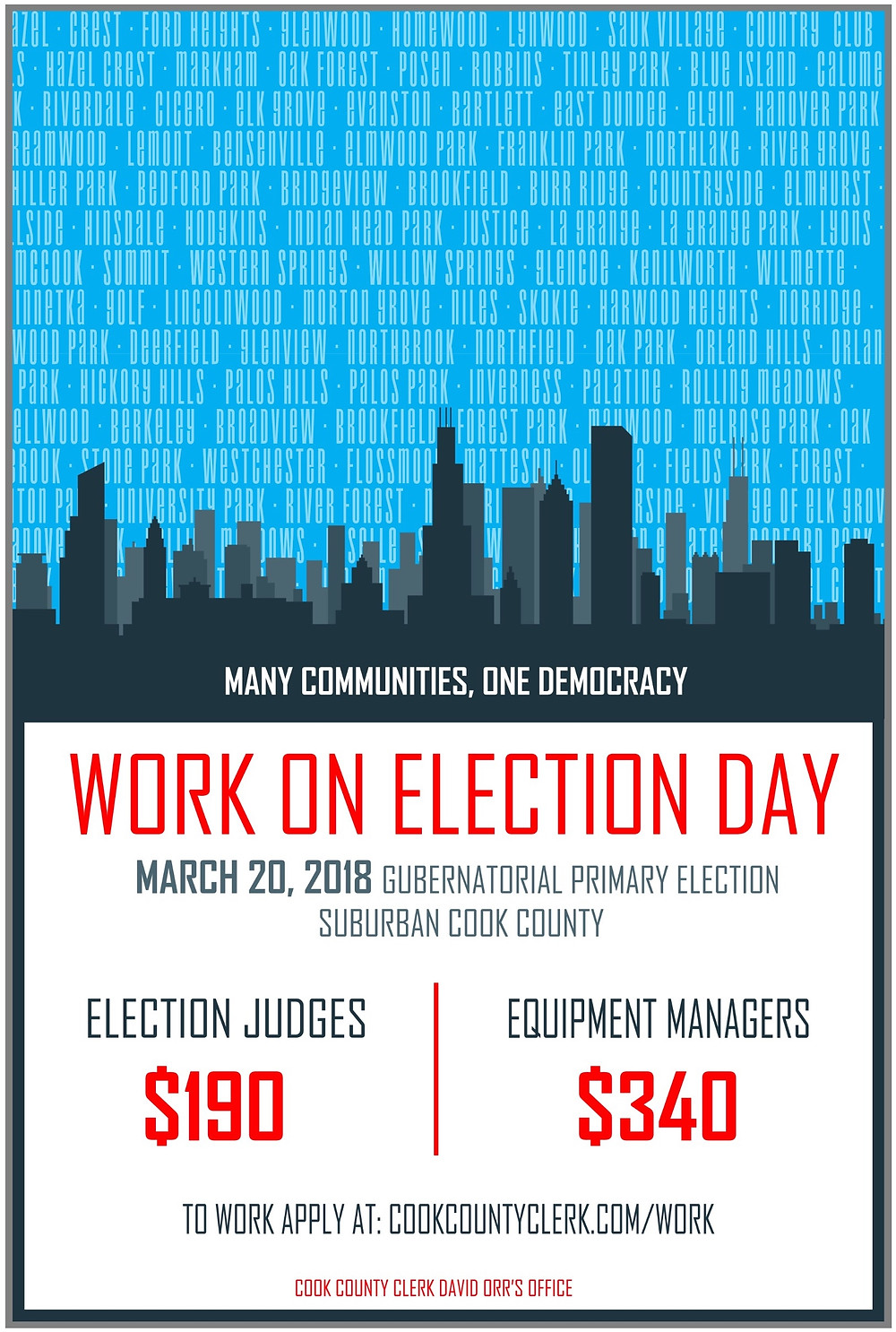 Work the elections for Suburban Cook County Illinois