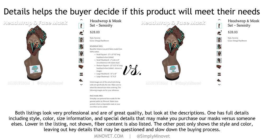 good listings and descriptions matter