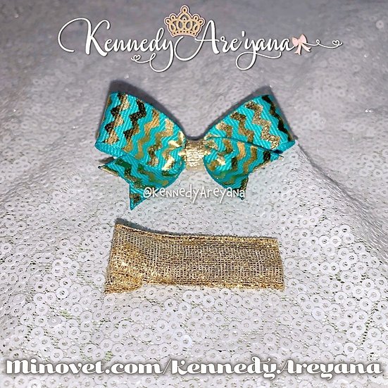 Mini Bow and Clip Set (Green/Gold)
