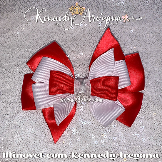 Red/White Hair Bow