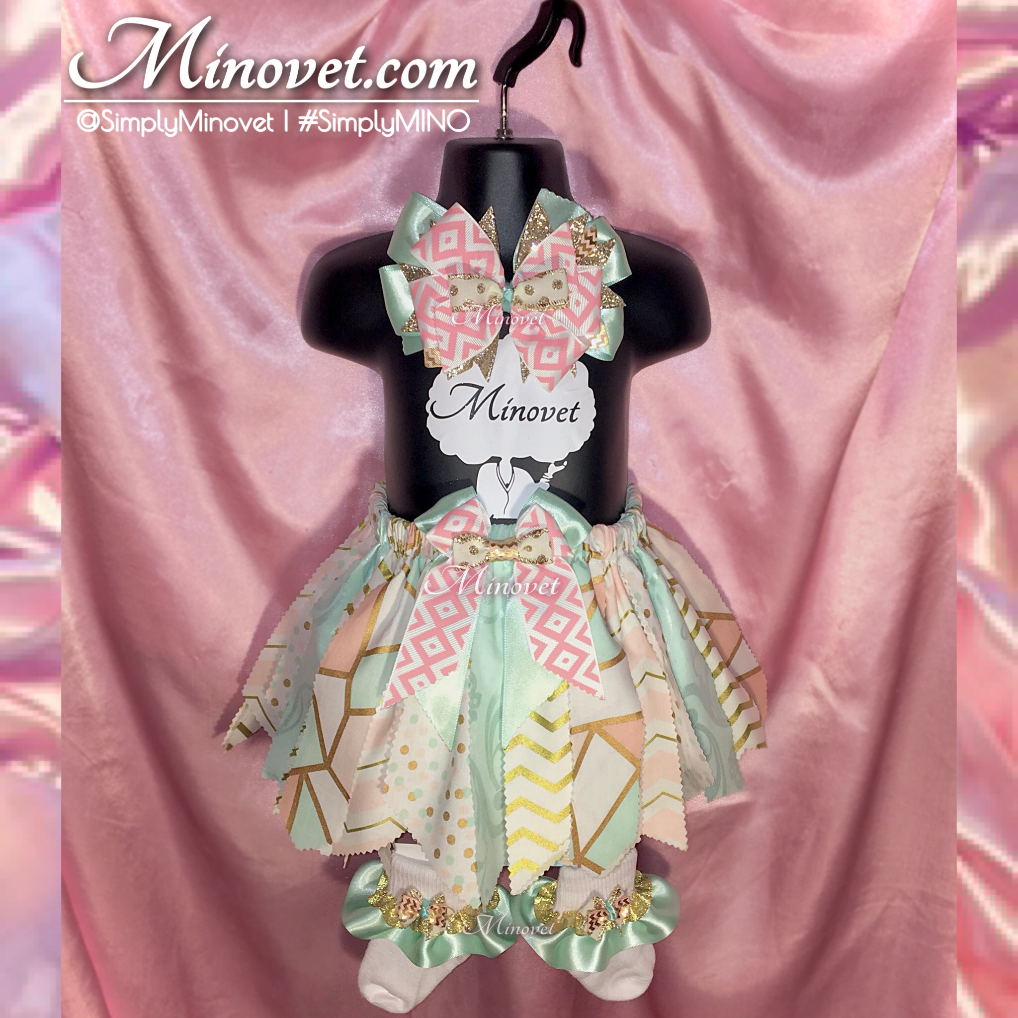 Fabric Tutu Set - Pink/Mint/Gold