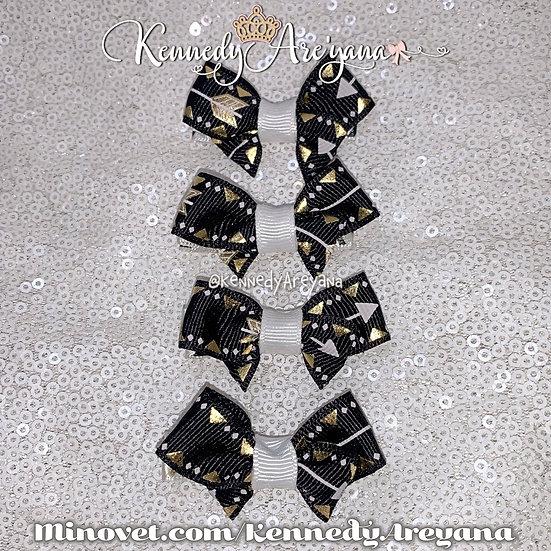 Black/Gold Mini Bows (Set of 4)