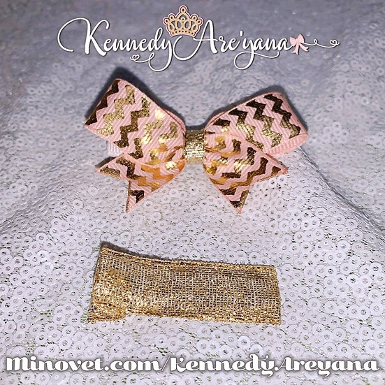 Mini Bow and Clip Set (Pink/Gold)