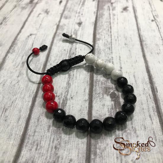 Black, Red, and White Bracelet