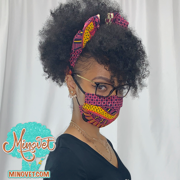 Headband and mask set - Elegance - side