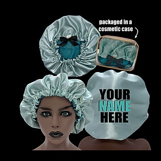 aqua and teal Bonnet in bag promo on bla