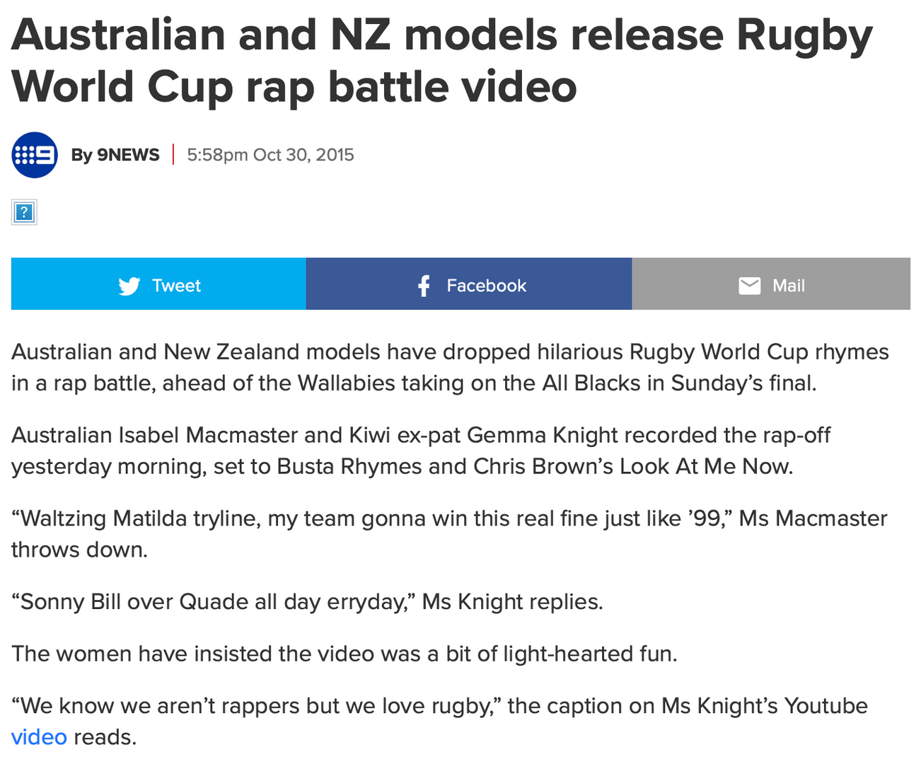 9 News - rugby rap