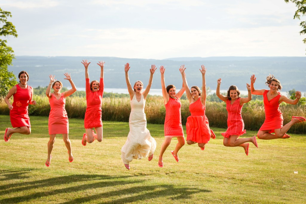 Bridal party jumping 3
