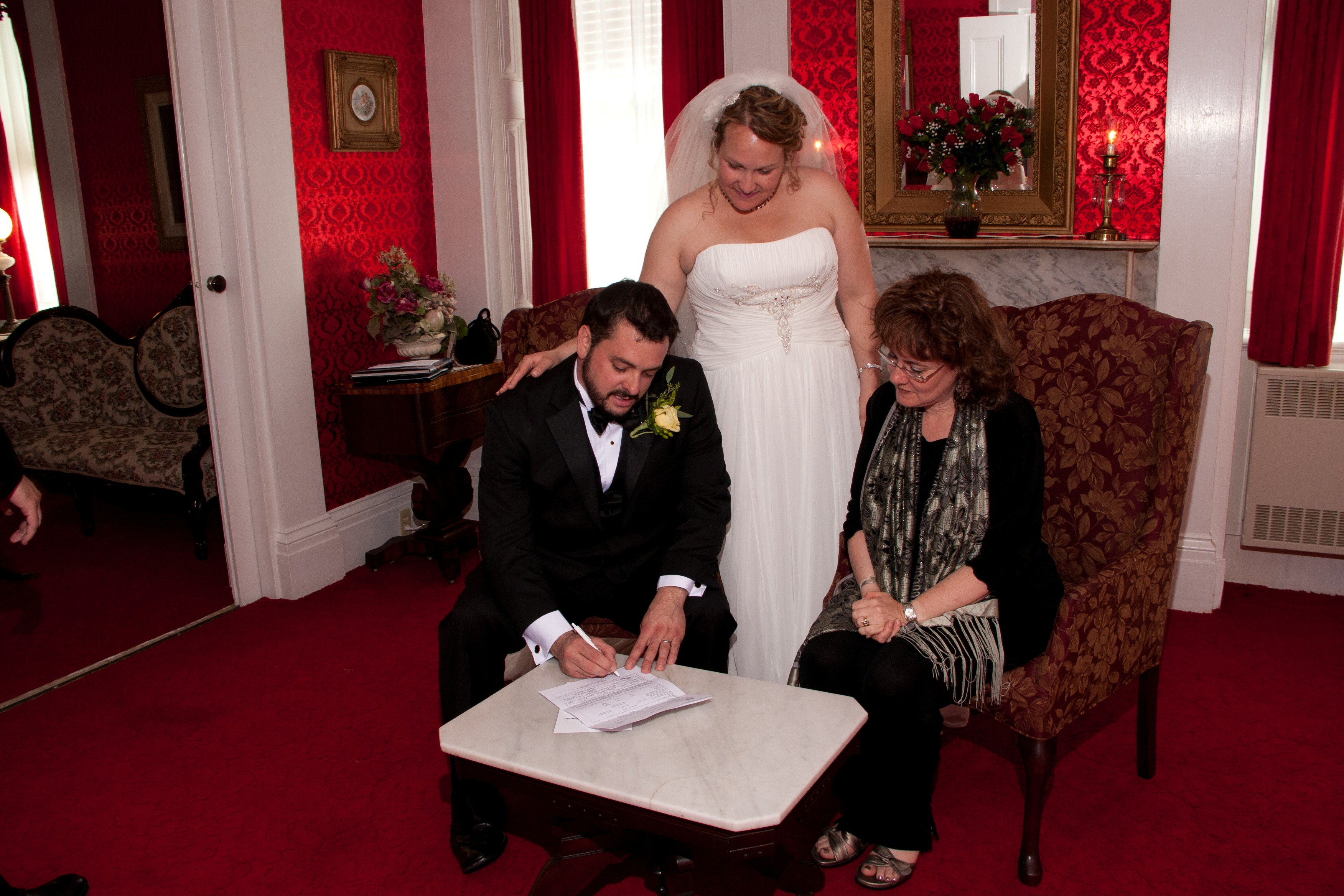 Signing the marriage license