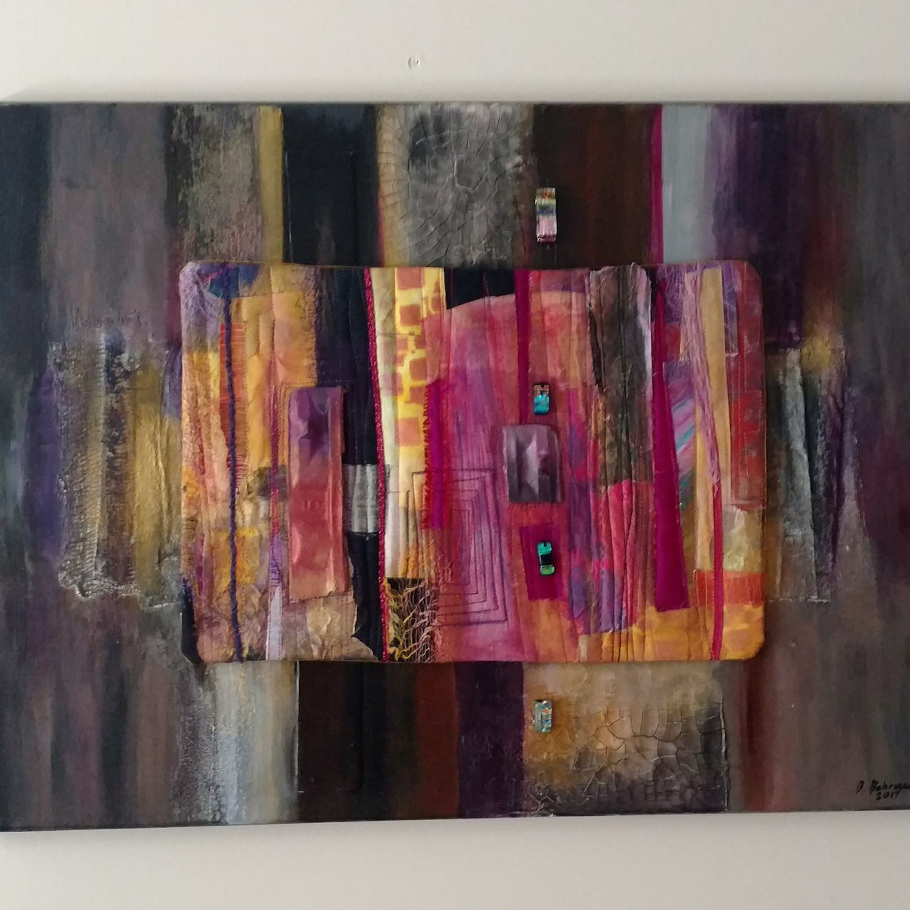 Quilted Collage Mounted on Canvas