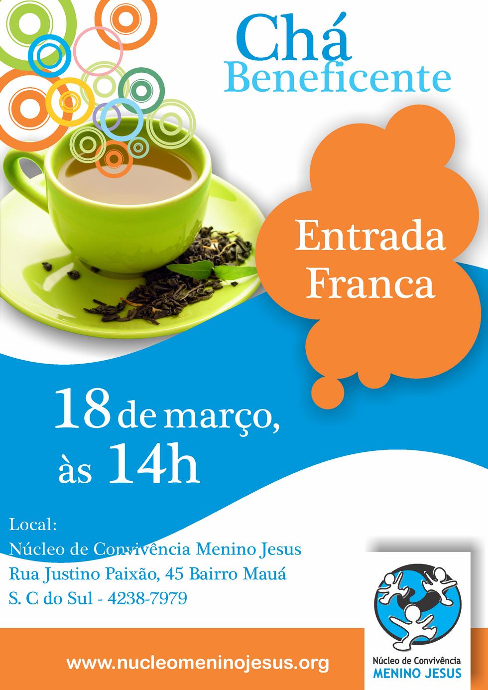 Chá Beneficente 18 de Março de 2014 às 14h