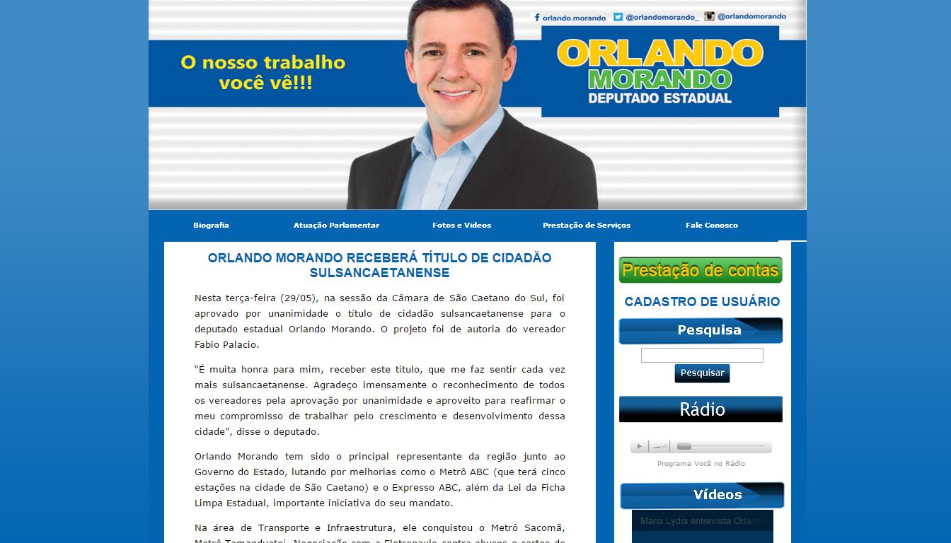 ORLANDO MORANDO RECEBERÁ TÍTULO DE C