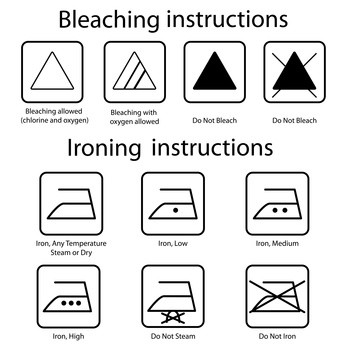 Bleaching and ironing care label instructions
