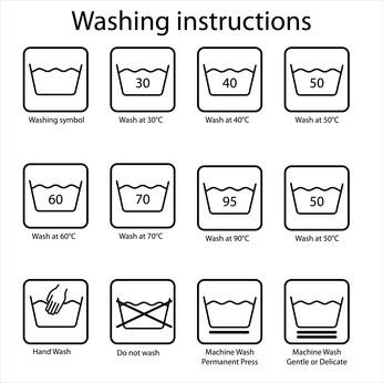 Washing care label instructions