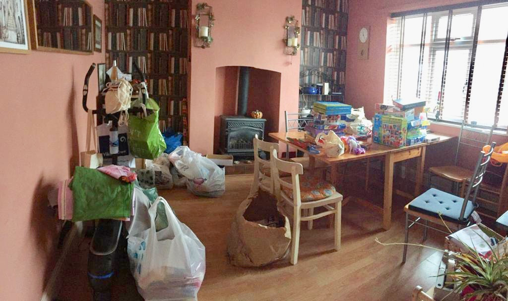 Donations taking over dining room.jpg