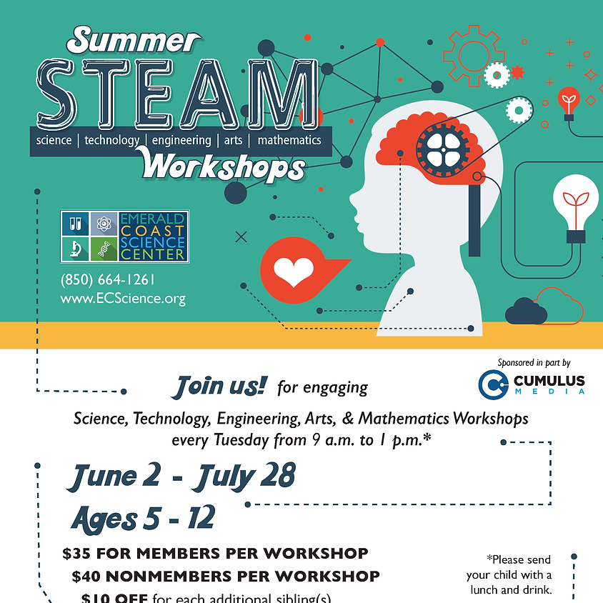 Summer STEAM Workshops: July 28 Civil Engineering & Building SPACES LIMITED: CALL 850-664-1261 TO REGISTER