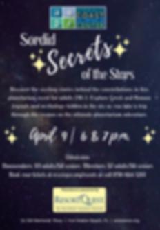 Sordid Secrets Planetarium Flyer April 9