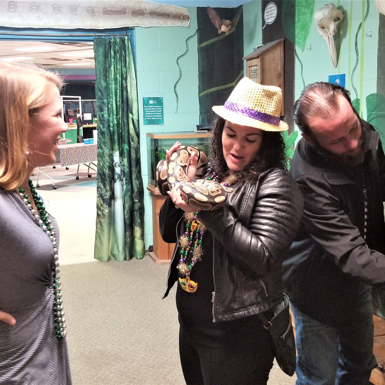 Who needs a feather boa when you have a snake boa? Guests got in the Carnival spirit with help from our Animal Ambassadors.
