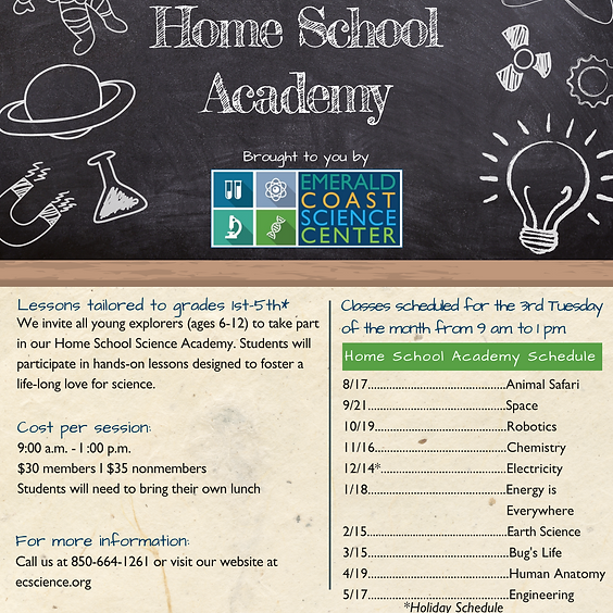 Home School Academy *Additional Class* Spaces limited, call 850-664-1261 to register