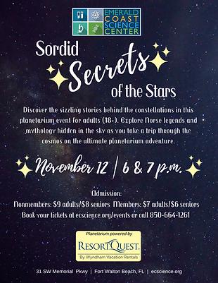Sordid Secrets Planetarium Flyer Nov 12.