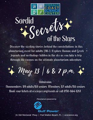 Sordid Secrets Planetarium Flyer May 13.
