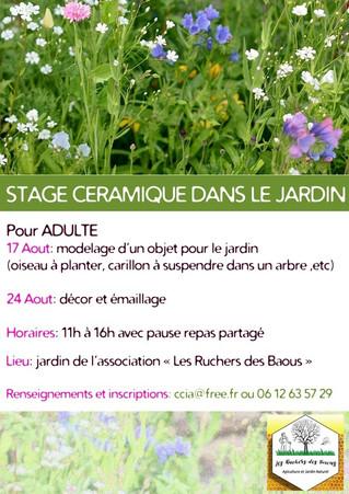 JEUDI 17 AOUT ET 24 AOUT - Atelier céramique avec Cécile Ciaramitaro
