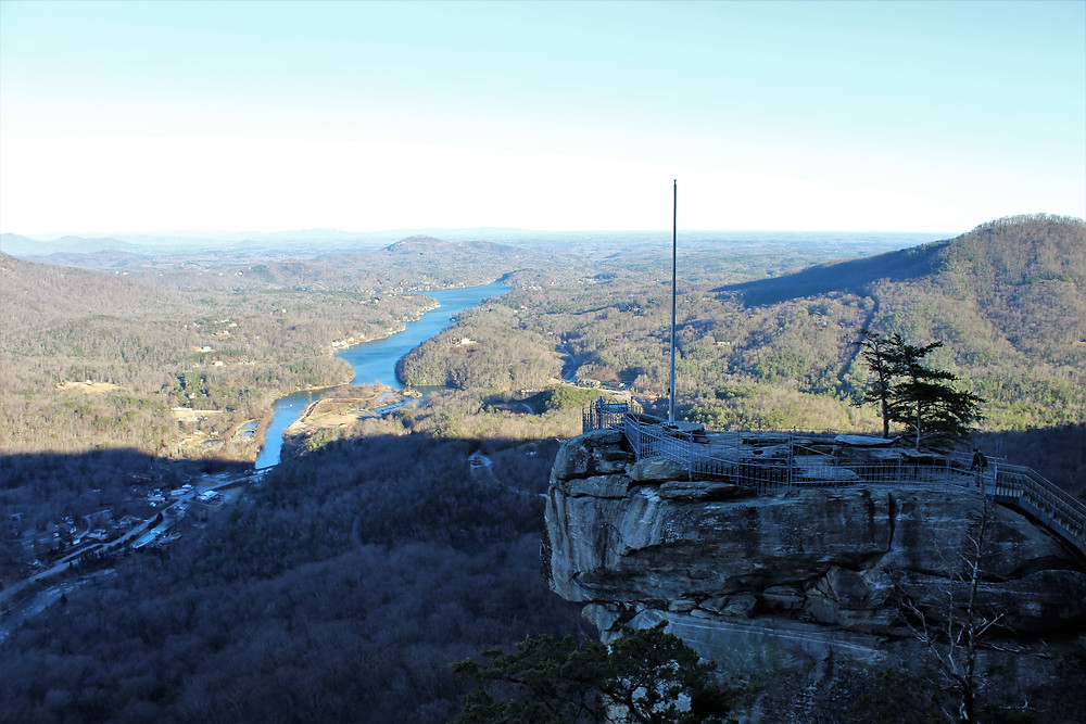 Top of Chimney Rock and Lake Lure